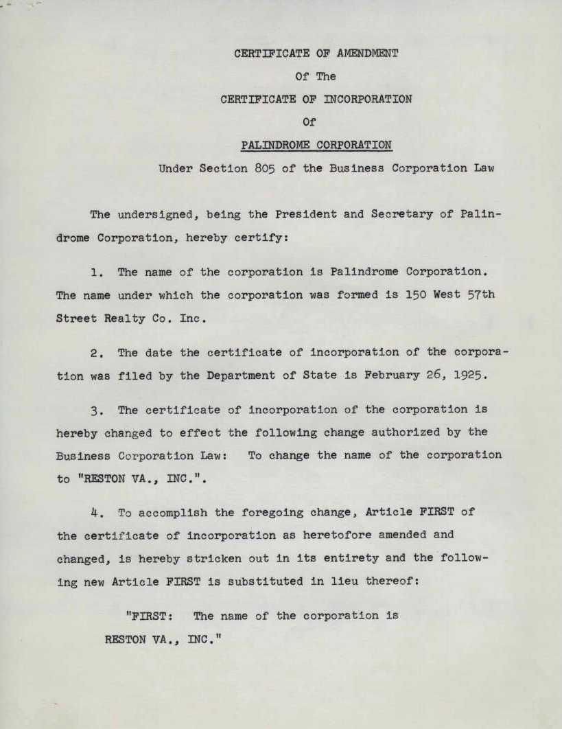 Palindrome corporation unanimous written consent of shareholders palindrome corporation unanimous written consent of shareholders certificate of incorporation 24 may 1965 xflitez Gallery