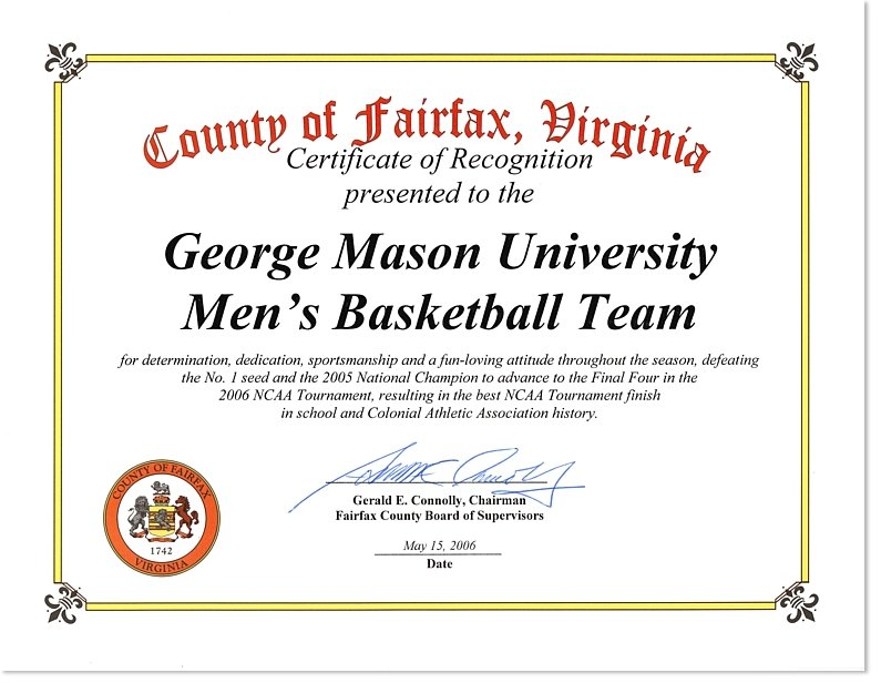 Certificate of recognition presented to the george mason university files in this item yadclub Choice Image