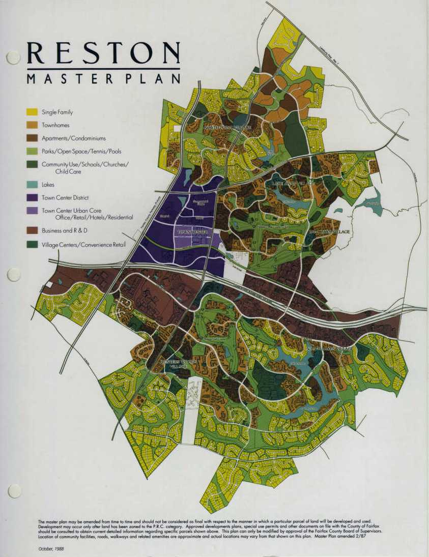 Reston Master Plan Map 1988